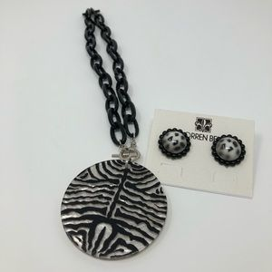🐅 Tiger Patterned Necklace and Earrings